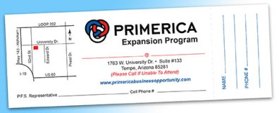 Primerica Perforated Invite Ticket